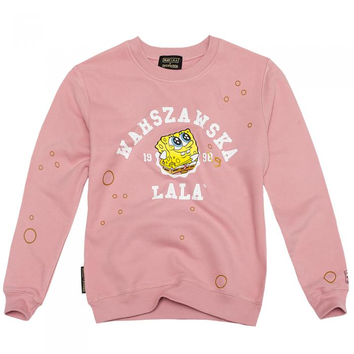 A light pink sweatshirt with a yellow sponge in the middle and white writing.
