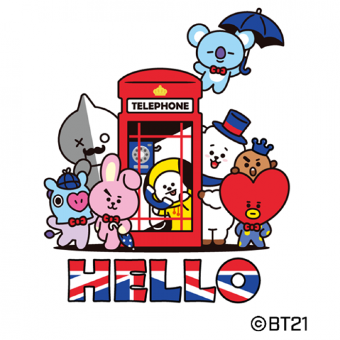 An illustration of show characters standing around and inside a red telephone booth. Below the characters, the word 'Hello' is written in British flag colours.