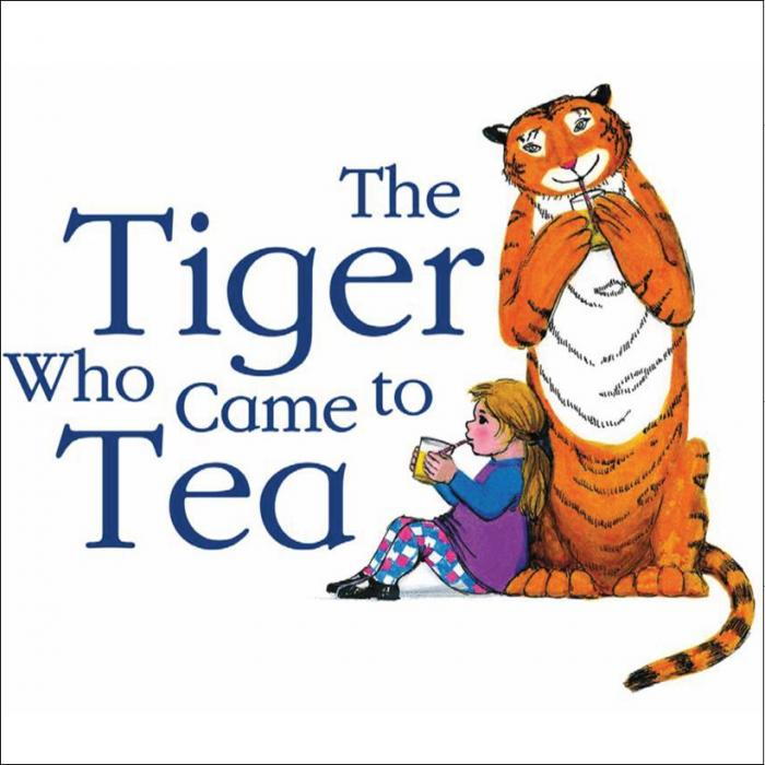 An illustration of a blonde girl sitting on the floor and leaning against an orange tiger. The girl and the tiger are holding cups in their hands and drinking though a straw. On the left side thee is a logo that says: The Tiger Who Came To Tea.