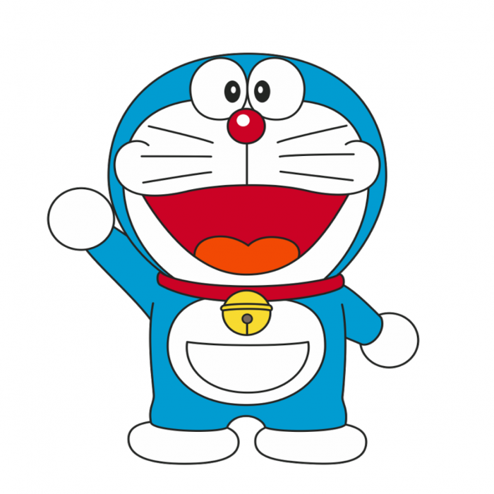 A blue cartoon character waving and smiling with his mouth wide open.