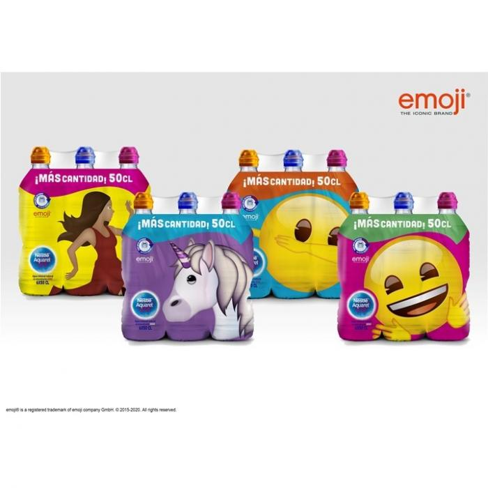 Four packages of water bottles in front of a white background. One of the packaging has a unicorn on it, two have happy faces and one has a dancing woman.