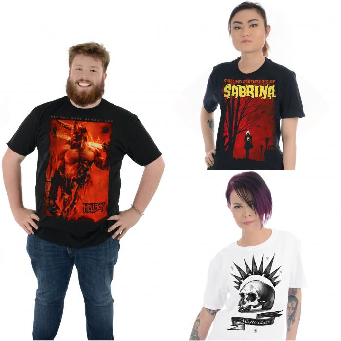 Three images of a man and two women modelling t-shirts.