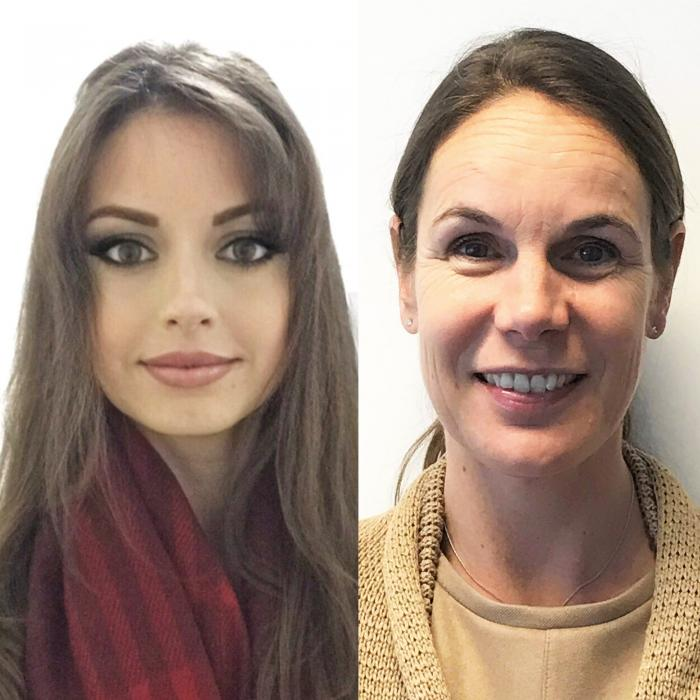 Headshots of two women side by side.