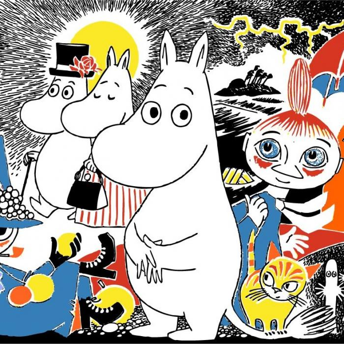 An illustration of white, round fairytale characters.