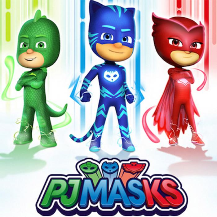 A green superhero character standing on the left, a blue superhero character in the middle and a red superhero character standing on the right.