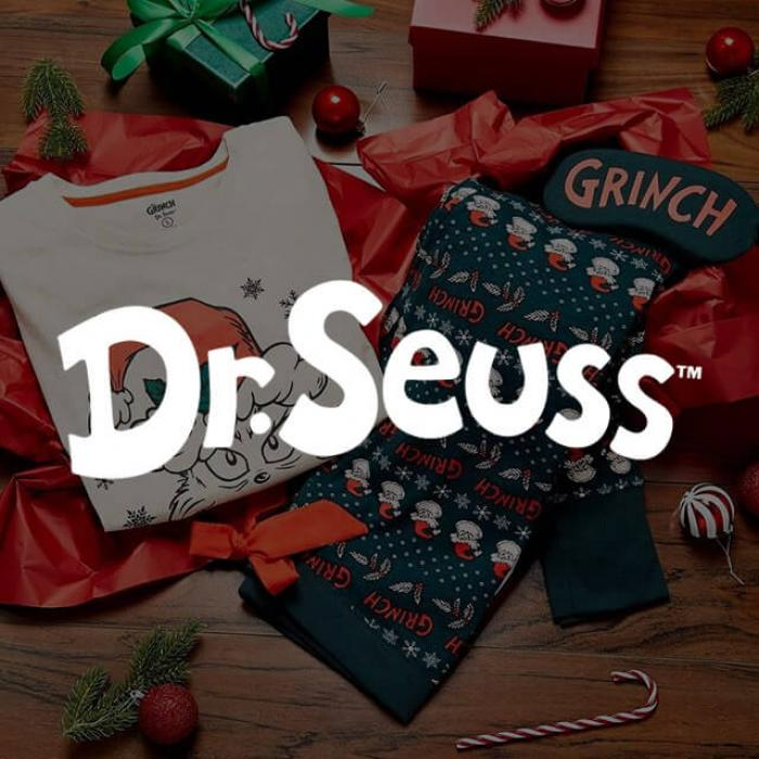Dr. Suess logo with Grinch apparel