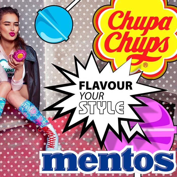 A busy image with a red polka dot background, a blue Mentos logo, a red and yellow Chupa Chups logo and a woman sitting and winking.