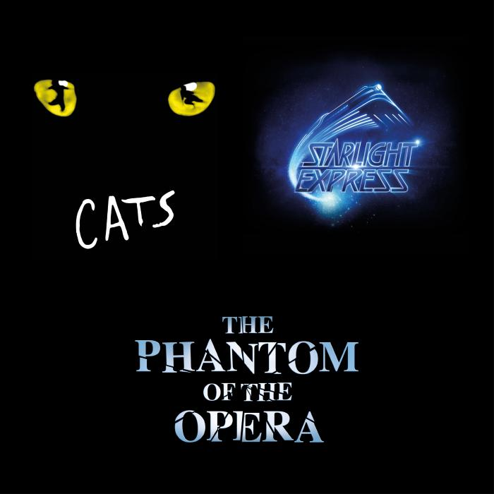 A black square with yellow cat eyes in the top left corner, the word, Cats, below the eyes and The Phantom of the Opera in the middle.