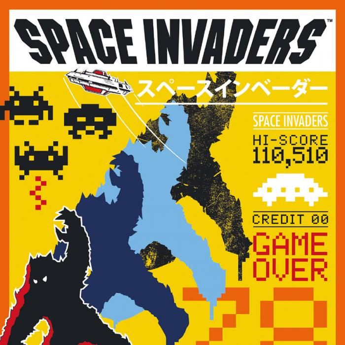 A yellow, black and red poster with the word Space Invaders at the top.