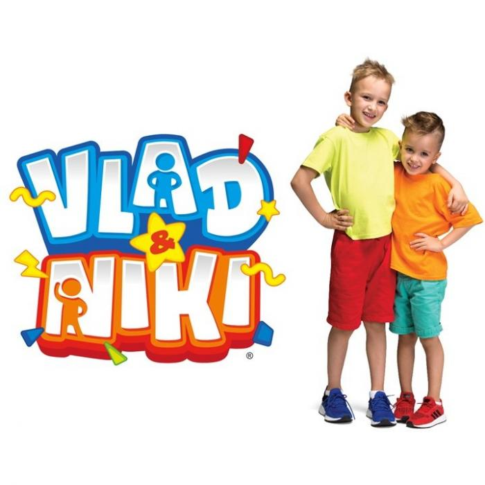 Two young boys standing in front of a white background. To their left is a Vlad and Niki logo.