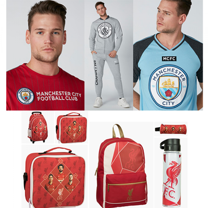 Three images in one showcasing red football merchandise in the bottom and a male model wearing three different shirts on the top.