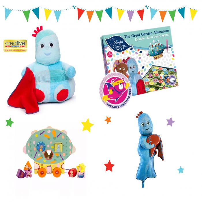 A plush toy holding a red blanket, a board game, a blue toy holding a red blanket and a toy train displayed on a white background.