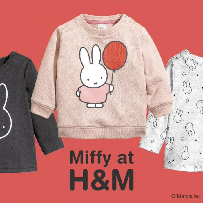 Three kids' tops in front of an orange background. Below the pink shirt, in the middle, is text that says: Miffy at H&M.
