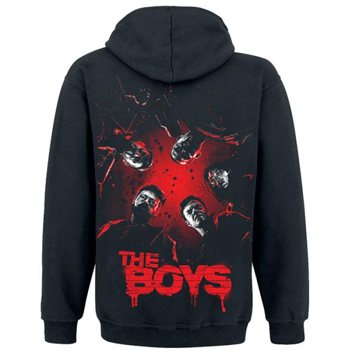 A black hoodie with five faces looking down and a large text that says:The Boys.